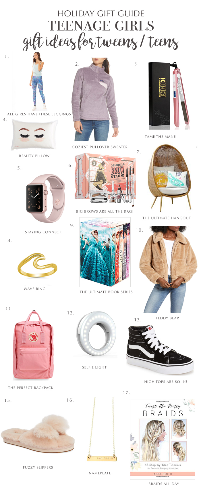 Look no further! The ultimate holiday gift guide for teen girls for cover all over your holiday shopping needs    Darling Darleen #holidaygiftguide #giftsforteengirls #darlingdarleen