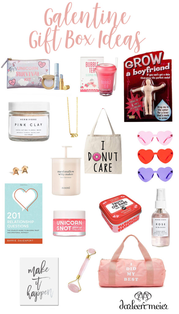 Put together fun items to make a Valentine gift box ideas for friends for Galentine or valentine gift box ideas for him   DIY valentine gift box ideas   creative fun valentine gift box ideas filled with products to use for date nights, favors   How to make valentine gift box ideas   Beautiful ways to say i love you in a valentine gift box ideas    Darling Darleen #valentinesday #darlingdarleen