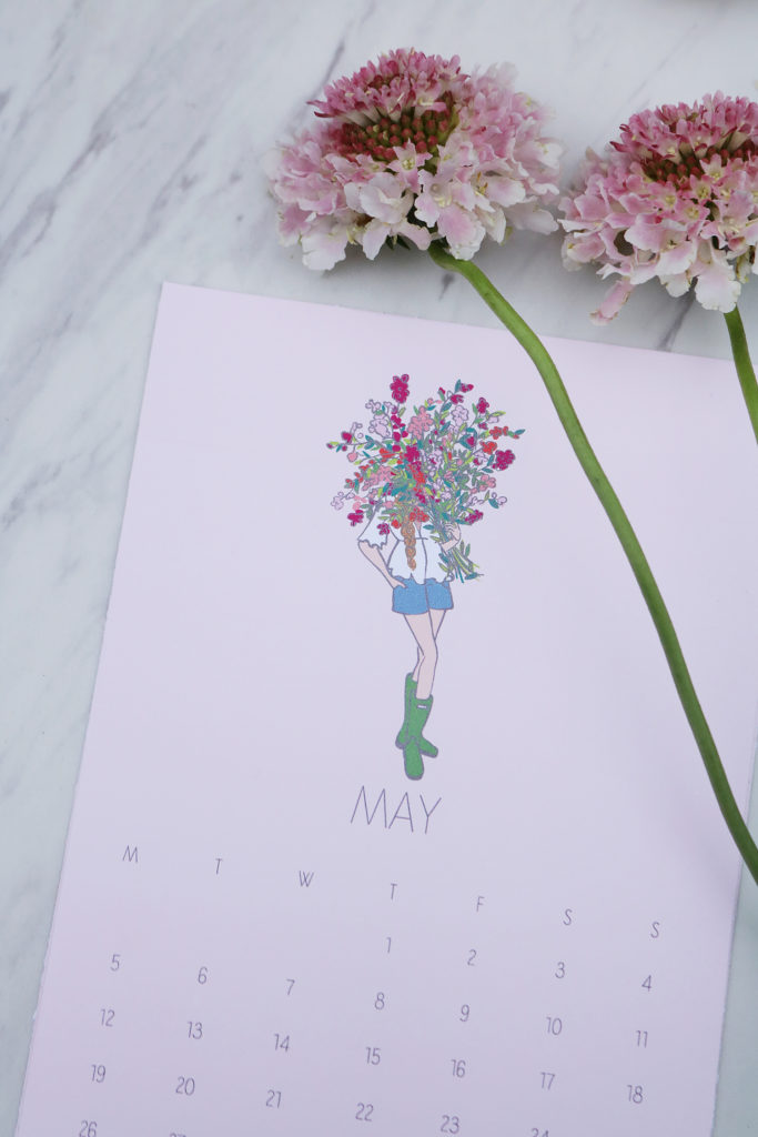 FREE May Calendar Printable 2019 fashion girl cover girl with a bouquet of spring flowers is part of our Fashion Girl Calendar Printable series | flower girl art free for download, may calendar 2019, simple and sweet fashion girl art work flowers in face illustration free printable || Darling Darleen #darlingdarleen