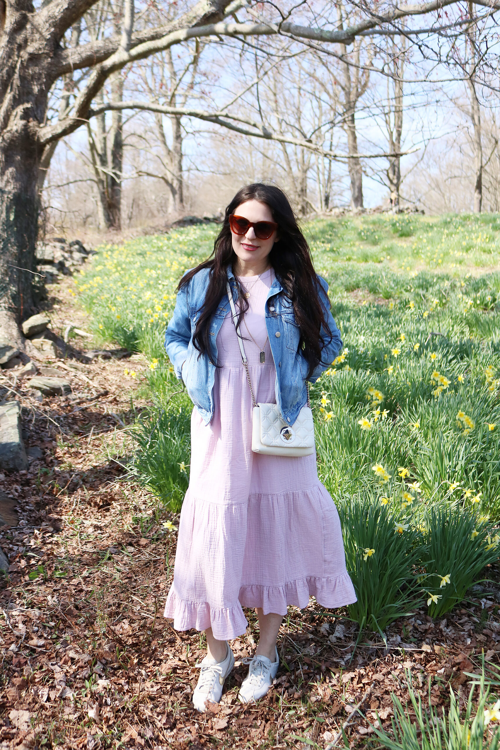 Long maxi dress with jean jacker and white sneaker outfits. The best sneaker pairs from splurge to save || Darling Darleen Top Connecticut Lifestyle Blogger #whitesneaker