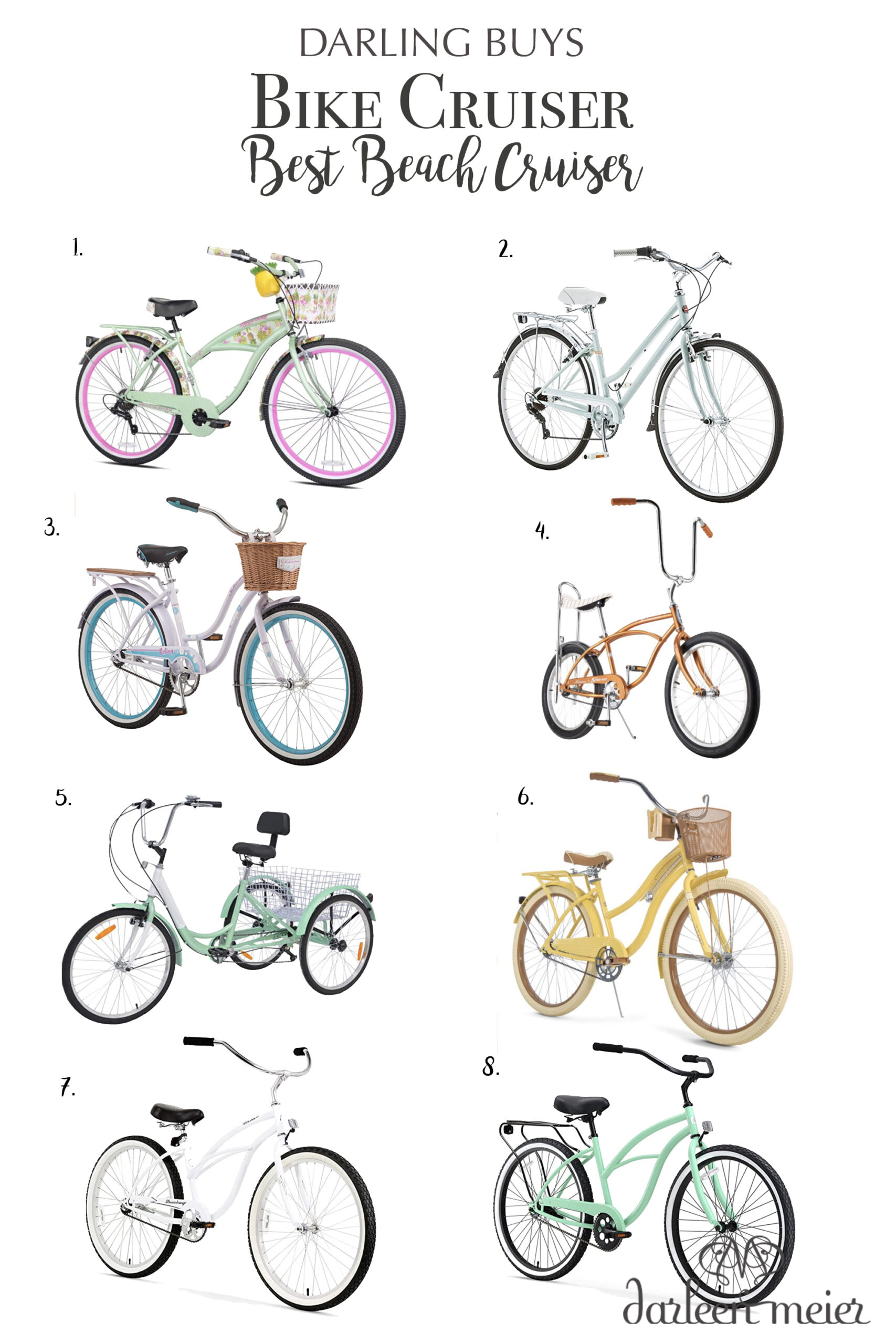 Best Bike cruisers to motivate you to get you out on a bike ride this summer.  Love riding my bike to the beach!    Darling Darleen Top Connectiuct Lifestyle Blogger