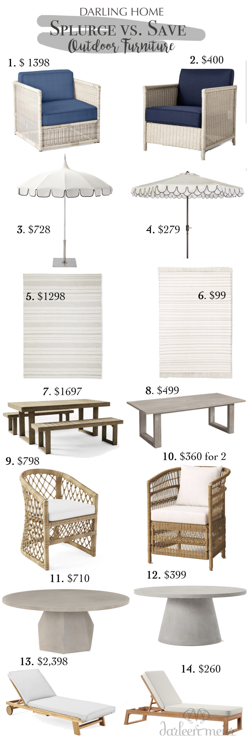 Another splurge vs. save outdoor furniture edition post. Update your outdoor living space with one of these cozy outdoor furniture pieces    Darling Darleen Top Lifestyle Blogger