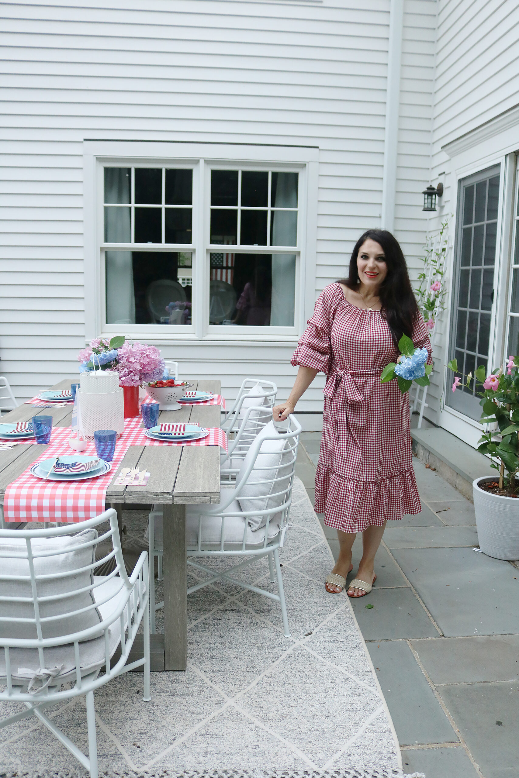 This year host a 4th of July barbecue party and sharing simple budget-friendly decorating tips, 4th of July outfit, red gingham dress, 4th of July entertaining tips || Darling Darleen Top CT Lifestyle Blogger #4thofjuly