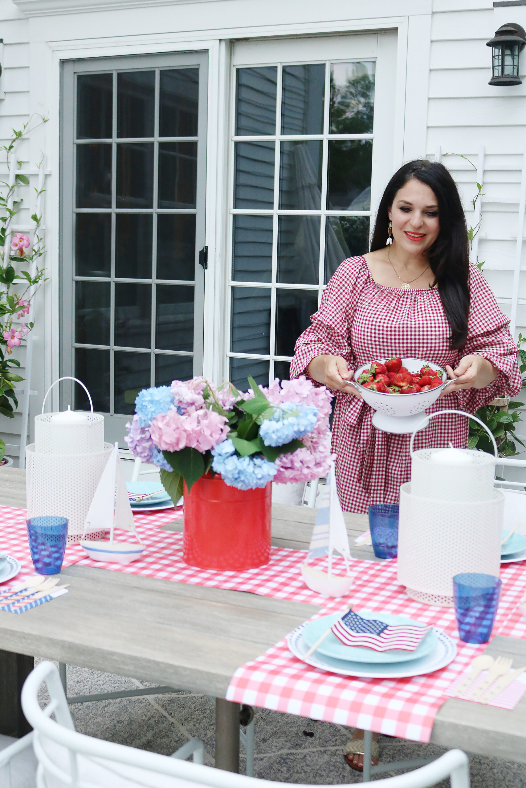 This year host a 4th of July barbecue party and sharing simple budget-friendly decorating tips, 4th of July outfit, red gingham dress, 4th of July entertaining tips, american flag decorations, backyard party, 4th of july tablescape  || Darling Darleen Top CT Lifestyle Blogger #4thofjuly #4thofjulyoutfit