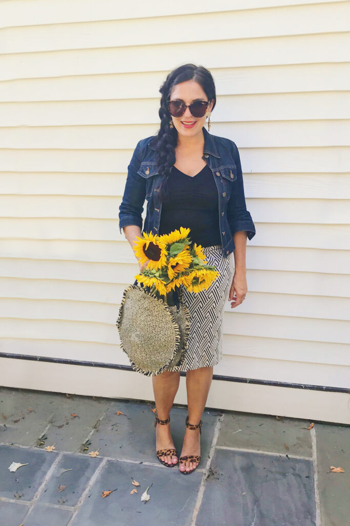 Jean jacket with leopard heels and pencil skirt, which are discounted at Nordstrom Anniversary Sale picks || Top CT Lifestyle Blogger Darling Darleen