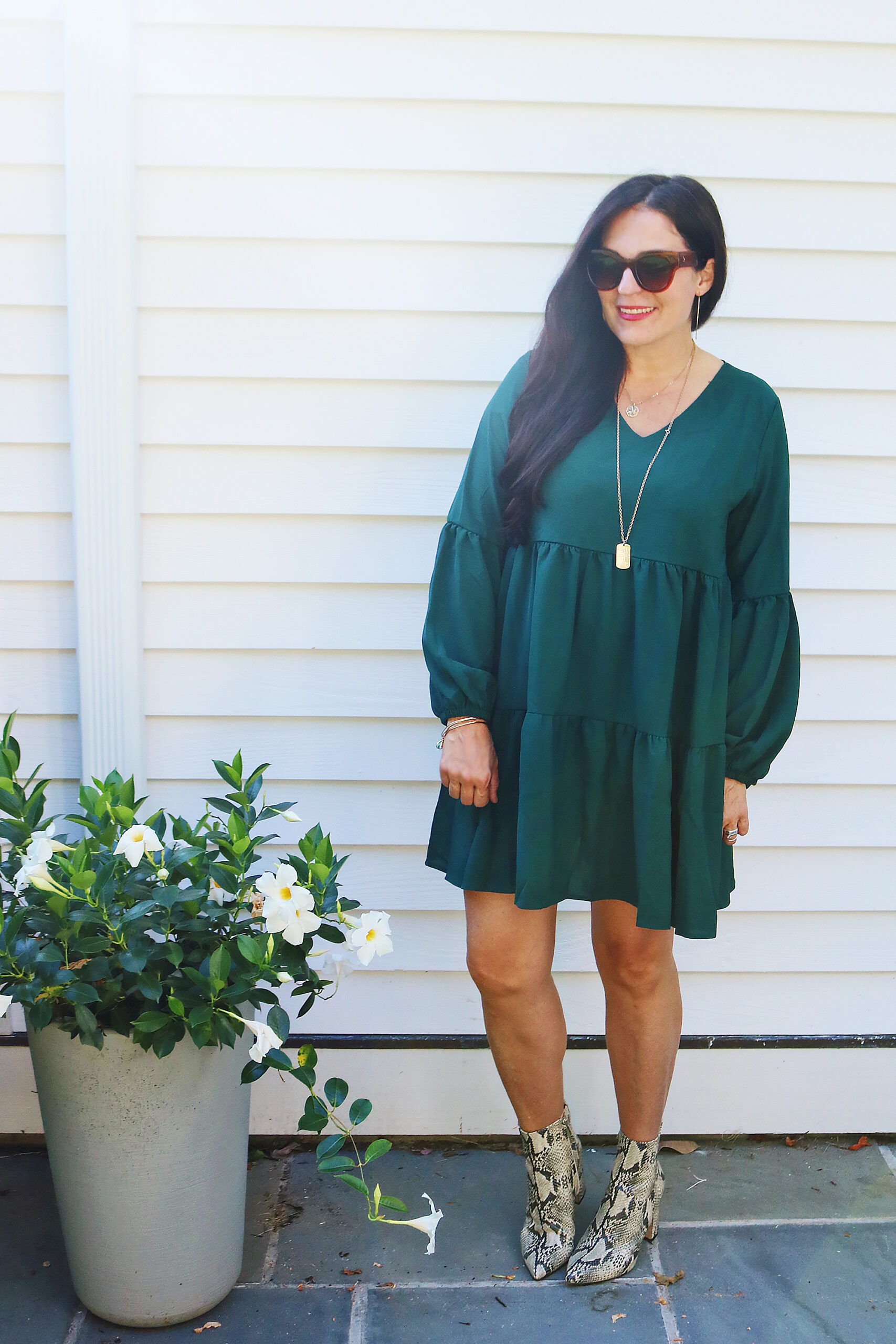 Fall styling in this fall dress with snakeskin boots which are discounted at Nordstrom Anniversary Sale picks || Top CT Lifestyle Blogger Darling Darleen