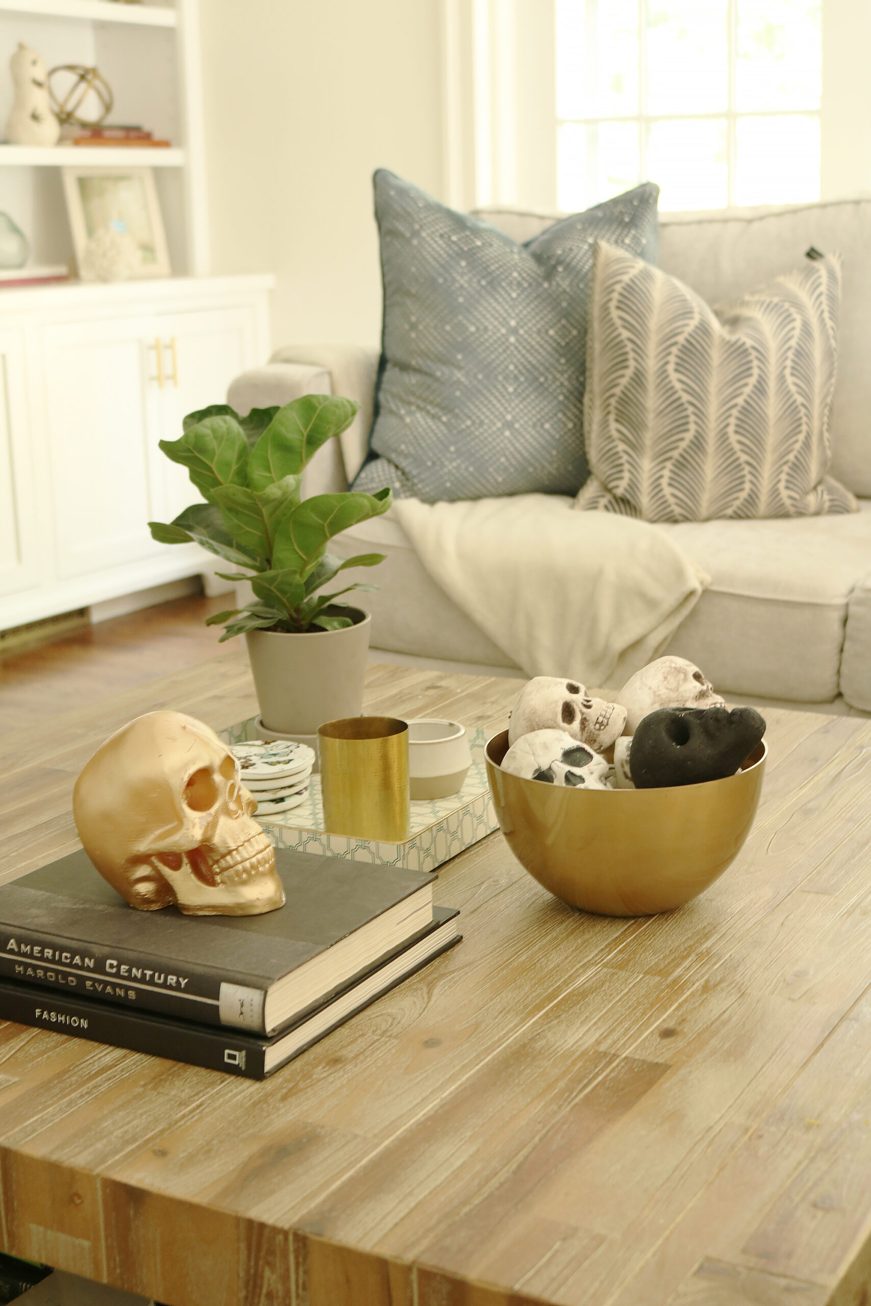 Our not-so-spooky Halloween Decorations with spiders and skeletons on coffee table-simple and easy spooky fun || Darling Darleen Top CT Lifestyle Blogger #darlingdarleen #halloweendecorations