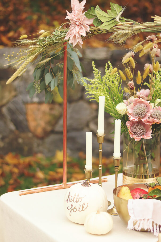 Decoration for your Thanksgiving table plus an easy DIY Over-The-Table Floral Rod to Make Your Thanksgiving Table a Feast to Remember and to use for all your festive holidays.  || Darling Darleen Top Lifestyle CT Blogger #thanksgivingtable #thanksgiving #darlingdarleen