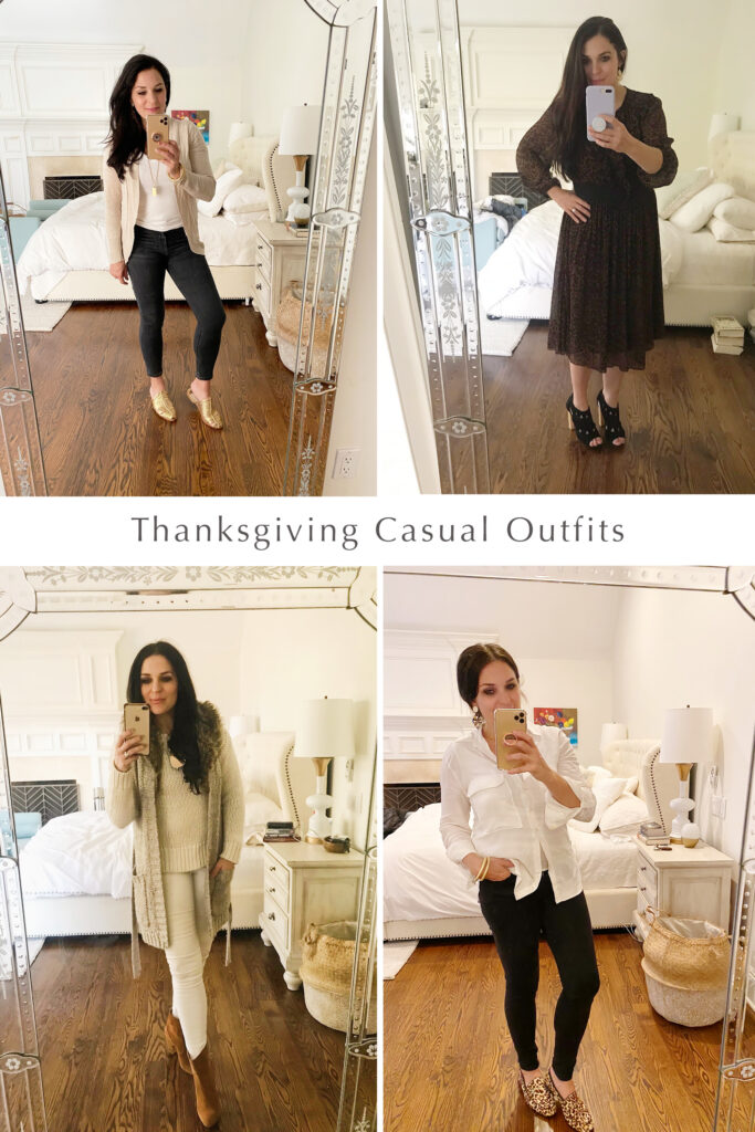 4 Casual Thanksgiving outfits to wear on Turkey Day!  Keep it casual, simple and most importantly comfortable.  Most of these items can be found in your own closet!  Plus Cyber Monday Deals.  Darling Darleen Top CT Lifestyle Blogger #thanksgivingoutfit #darlingdarleen