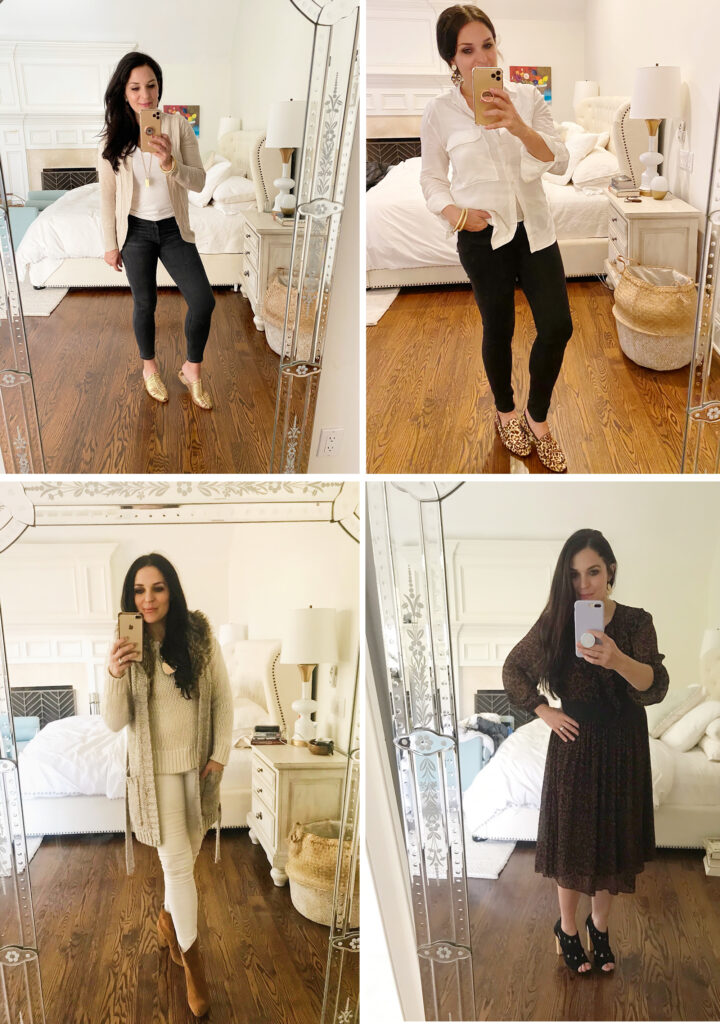 4 Casual Thanksgiving outfits to wear on Turkey Day!  Keep it casual, simple and most importantly comfortable.  Most of these items can be found in your own closet!  Darling Darleen Top CT Lifestyle Blogger #thanksgivingoutfit #darlingdarleen
