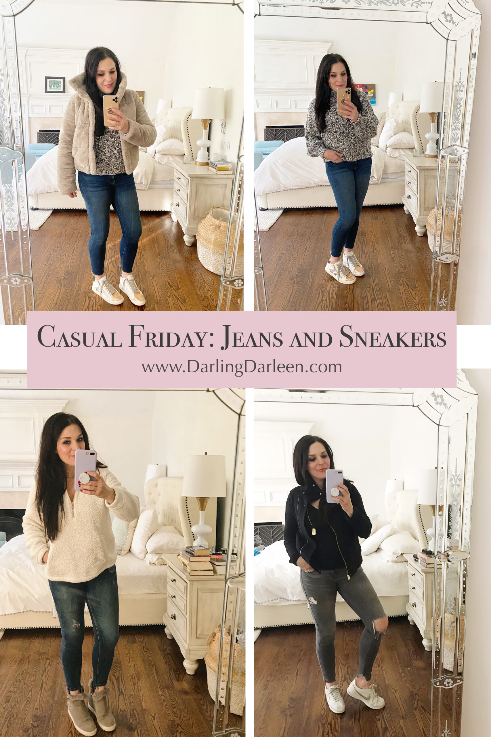 Snapits of my casual Friday jeans and sneakers winter edition, and sharing winter sales and how I am staying warm this winter.     Darling Darleen Top CT Lifestyle Blogger