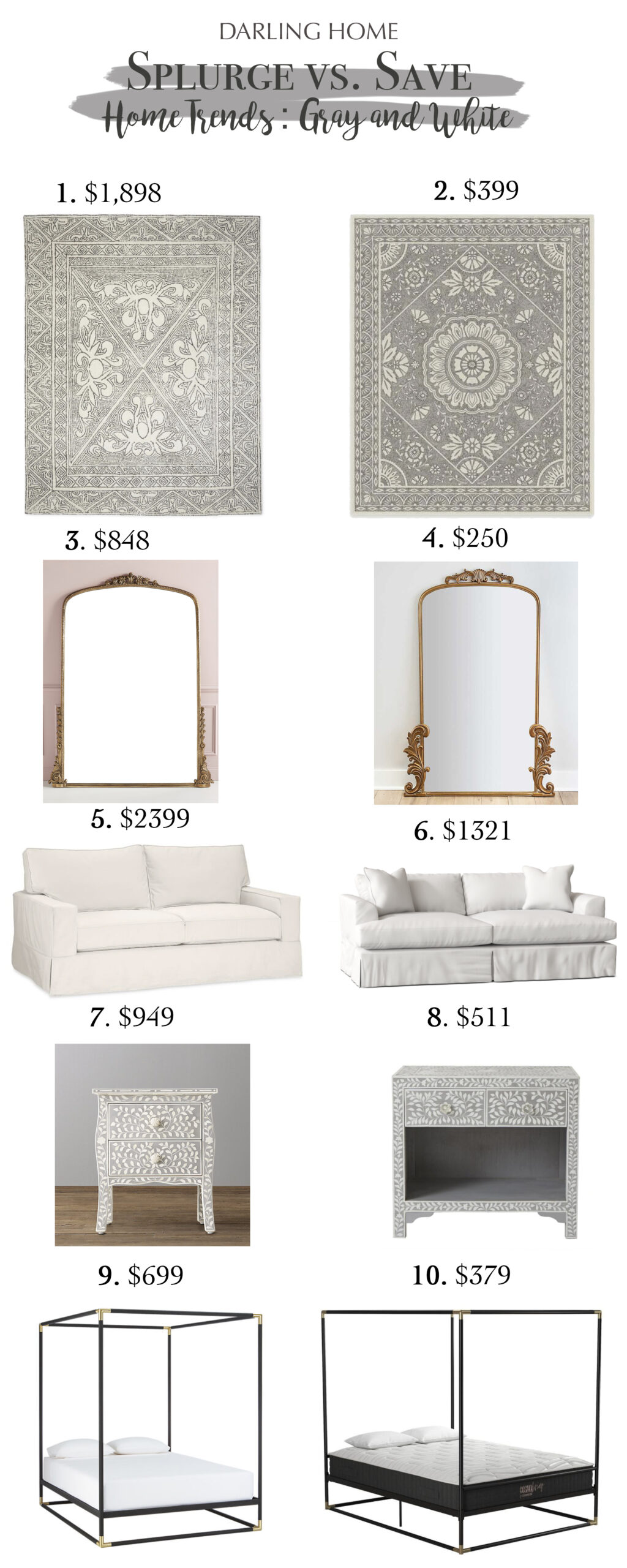 Home trends of grays and whites with Touches of Black.  Check out these Splurge vs. Save: Gray and White || Darling Darleen Top Lifestyle CT Blogger #darlingdarleen #darleenmeier