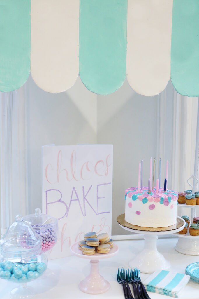 At-Home Cake Decorating Party/ Bake Shop Sign--easy tips, techniques, supplies and lots of sweets!  You don't have to be a cake decorator to make a pretty cake!     Darling Darleen Top Lifestyle Blogger #darlingdparties #darlingdarleen #cakedecorating