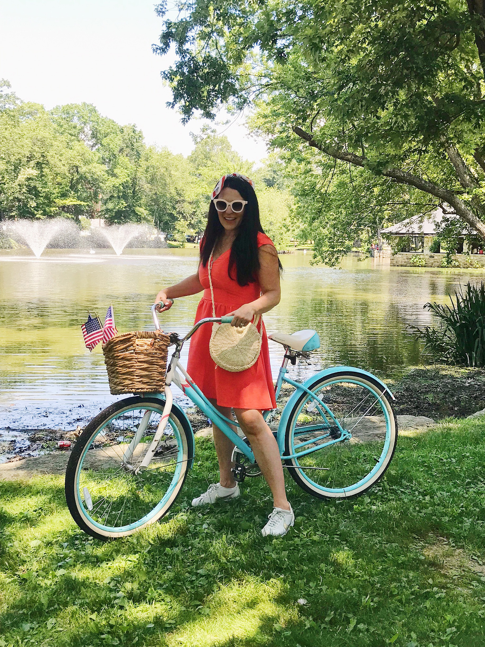 4th of July Outfit , fourth of July, red white and blue outfit, red dress, summer dress, patriotic dress, American flag, blue bike with basket|| Darling Darleen Top Lifestyle CT Blogger  #4thofjuly #fourthofjuly