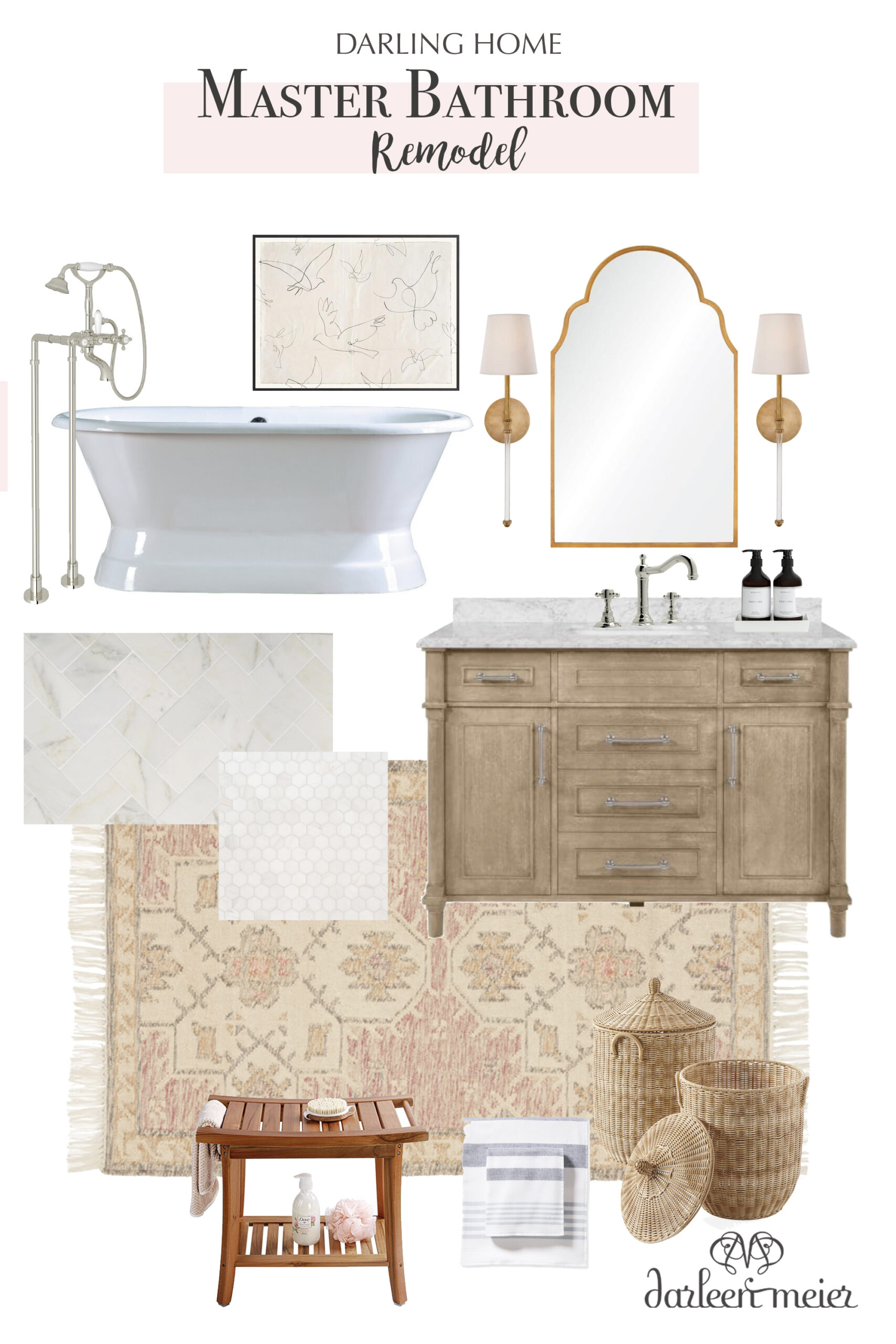 Renovation Ideas for Our Master Bathroom Remodel.  Details in the Master bathroom inspiration board with before pictures. || Darling Darleen Top CT Lifestyle Blogger #darlingdarleen